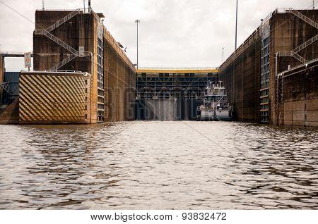 Tugboat In Open Lock