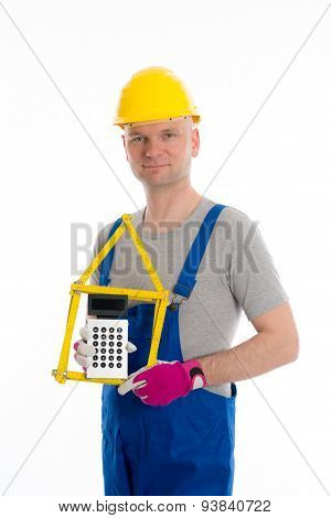 Friendly Worker With Yardstick And Piggy Bank
