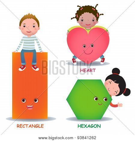 Cute little cartoon kids with basic shapes (heart hexagon rectangle) for children education poster