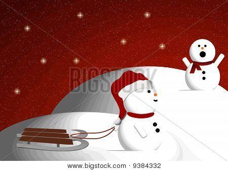 Snowman Sledding