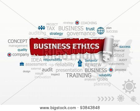 Business Ethics and Guidelines as a design illustration concepts for business consulting finance management career. poster