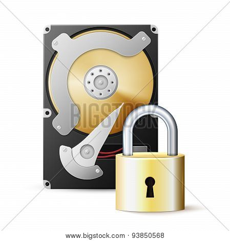 Protected hdd. Hard disk drive and lock