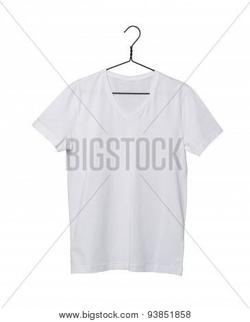 Close-up Of The White T-shirt On The Clothes Hanger. Isolated On White Background.