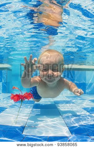 Child Swimming Underwater For A Red Flower In The Pool
