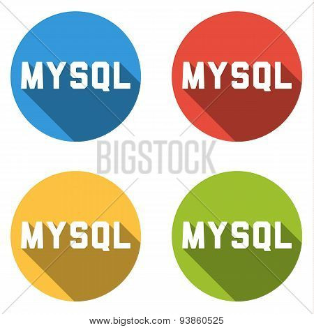 Collection Of 4 Isolated Flat Buttons For Mysql (relational Database Management System)