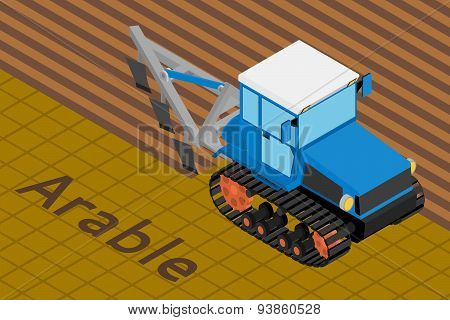 Agricultural crawler tractor with plow tillage a field.