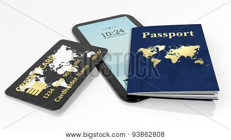 Passport, credit card and tablet/smartphone isolated on white background