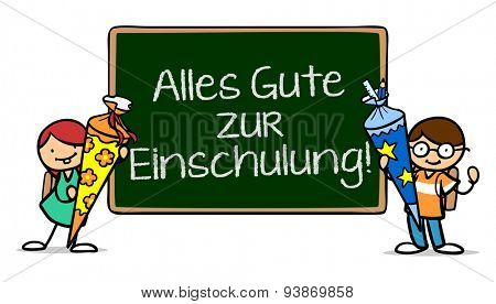 Children next to chalkboard saying in German