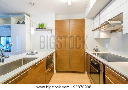 Modern, bright, clean, kitchen interior with stainless steel appliances.