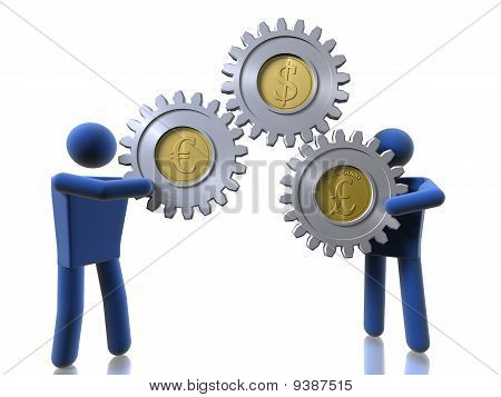 3D Figures Carrying Monetary Cogs
