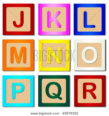 Wooden Block Letters J To R