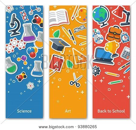 Back To School Vertical BannersSet With Flat Sticker Icons.