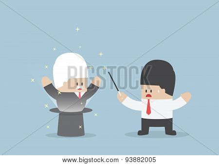 Businessman was shocked when the boss up from magic hat VECTOR EPS10 poster