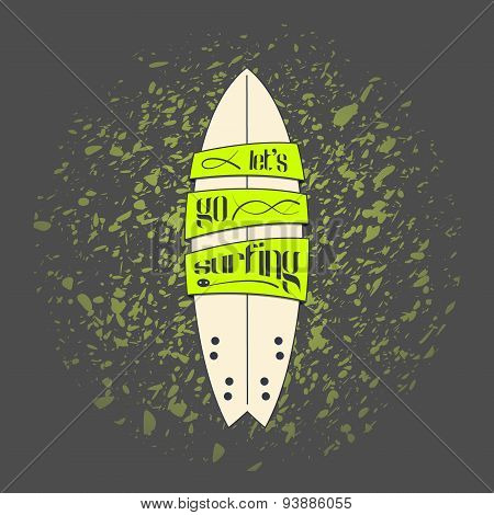 Vector surfboard in dark cartoon graffiti design on grunge background. Surfing board with text banne