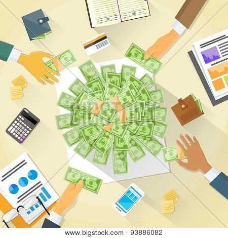 Money on Desk Hands Business People Group Crowd Funding
