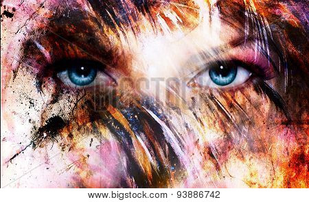 Beautiful Blue Women Eyes Beaming, Color Feathers Effect, Painting Collage, Phoenix Makeup.