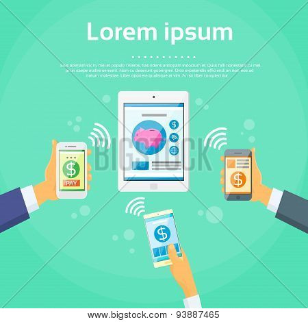 Smart Phone Mobile Payment Device Nfc Tablet Checkout Businessman Hand Contact Less Pay Flat Vector Illustration poster