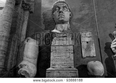 Constantine Statue At Night