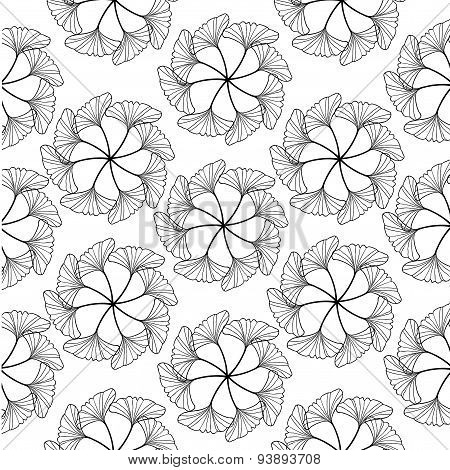 Black Gingko Leaf Circle Sketch Doodle Pattern