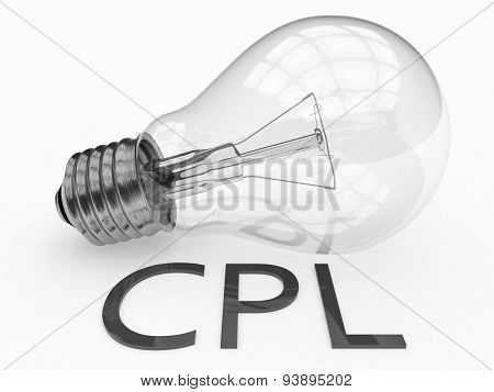 CPL - Cost per Lead - lightbulb on white background with text under it. 3d render illustration. poster