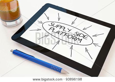 Supply Side Platform - text concept on a mobile tablet computer on a desk - 3d render illustration. poster