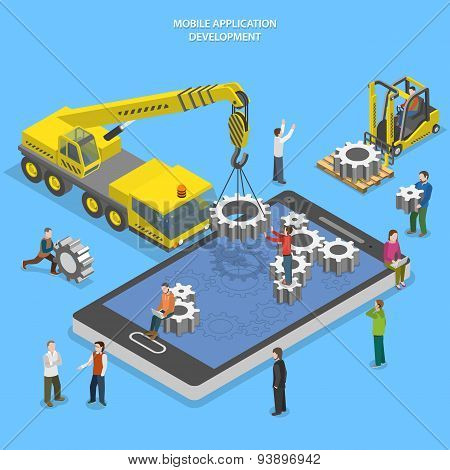 Mobile app development flat isometric vector