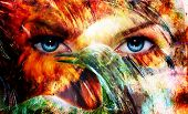beautiful blue women eyes beaming color feathers effect painting collage and bird phoenix artist makeup poster