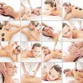Massaging collage. Spa, rejuvenation, skin care, healing and medicine concept. poster