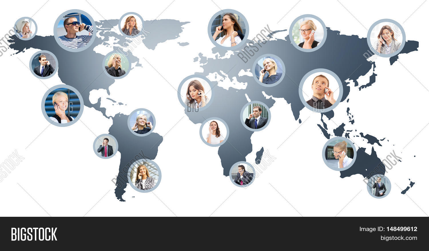 Business people talking on image photo bigstock business people talking on the telephone collage of different business pictures collected as world map gumiabroncs