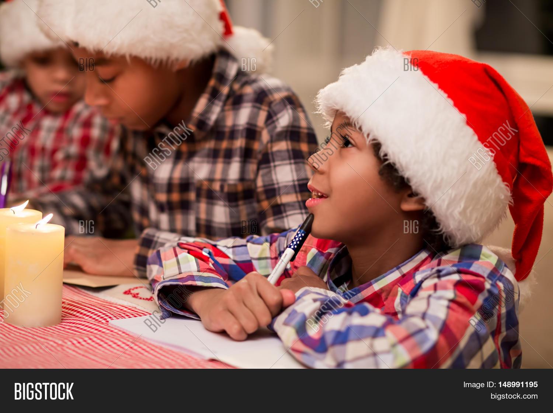 Children Writing Letter Santa. Afro Image & Photo | Bigstock