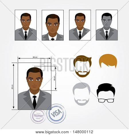 Set template face business suits clothing hairstyles. Vector illustration