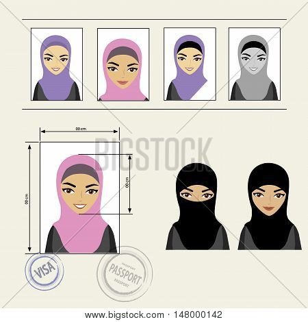 Set template face muslim girl . Vector illustration