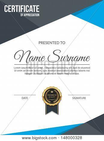 Certificate of appreciation, Diploma template design. Vector