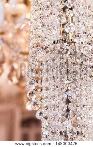 Interior elements of crystal strass white lamp