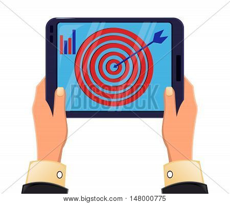 Tablet in man's hands. Objective reached. Icon modern technologies. Vector illustration
