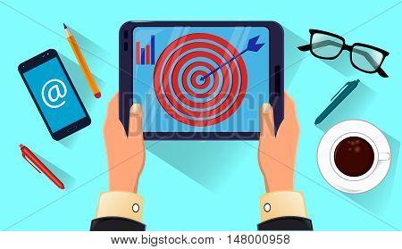 Tablet in man's hands. Coffe glasses smartphone on the table. Icon modern technologies. Vector stock illustration