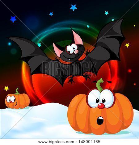 Halloween design pumpkin funny vector illustration shiny night