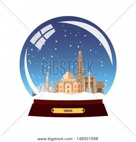 Snow Globe City. India In Snow Globe. Winter Travel Vector Illustration