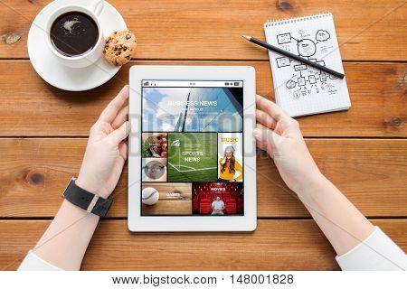 multimedia, business, education, technology and people concept - close up of woman with internet news application on tablet pc computer screen and coffee on wooden table