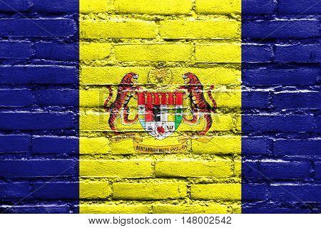Flag Of Putrajaya, Malaysia, Painted On Brick Wall