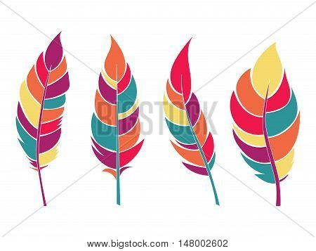 Decorative colorful flat feathers set. Icons isolated on a light background.Tribal objects. Vector illustration.