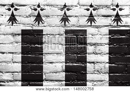 Flag Of Rennes, France, Painted On Brick Wall