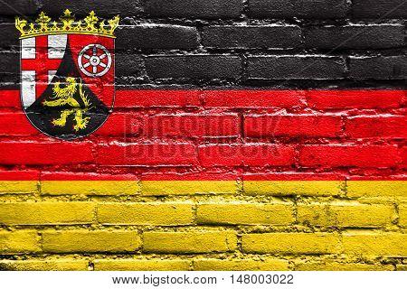 Flag Of Rhineland-palatinate, Germany, Painted On Brick Wall