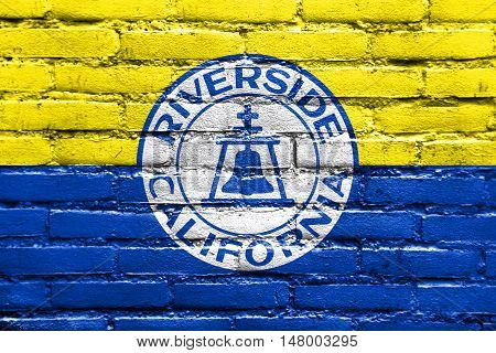 Flag Of Riverside, California, Usa, Painted On Brick Wall