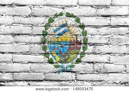 Flag Of Rosario, Santa Fe, Argentina, Painted On Brick Wall