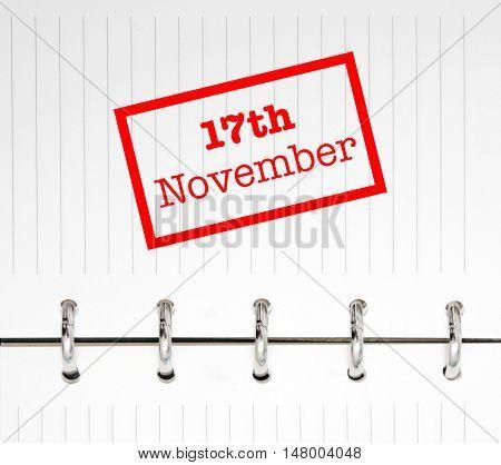 17th November written on an agenda