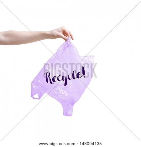 Recycle written on plastic bag