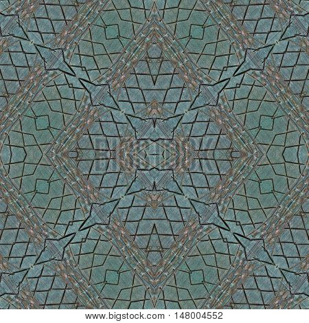 Wooden background wall table. Background for scrapbook top view. Collage with mirror reflection. Mysterious wooden backdrop flooring or parquet floor. Seamless pattern