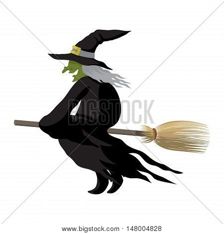 black witch halloween night flying broom cartoon