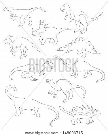 Collection of linear dinosaurs, collection of sketches of dinosaurs
